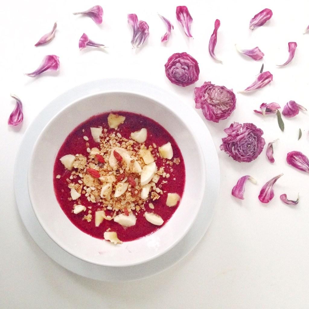 Idées de petits déjeuners sains, rapides et gourmands - Recettes de petits déjeuners équilibrés - Smoothie / mousse aux fruits rouges